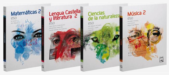 Diseño de libros de texto, Editorial Casals Barcelona, portadas miradas