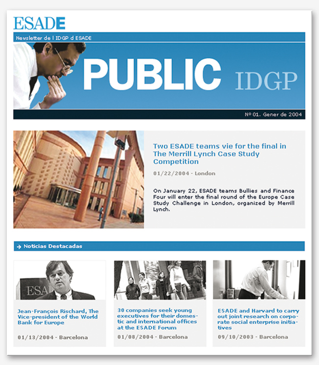 Disseny de newsletter per a professionals IDGP de ESADE web adn studio