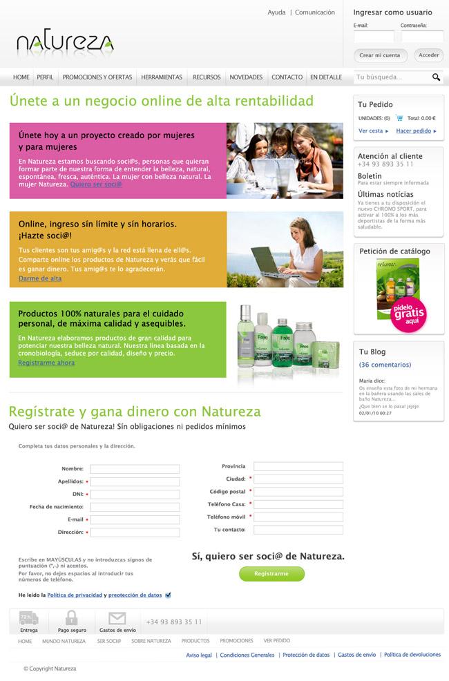 Nuevo modelo de venta a distancia online utilizando las redes sociales, Natureza 5